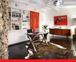 excellent home office interior design with corner wooden desk