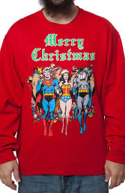 dc comics faux ugly christmas sweater superman wonder woman