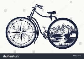 bicycle tattoo art symbol travel tourism stock vector 571930633