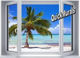 tropical window murals wall murals you ll love palm view window 1 piece l stick wall mural