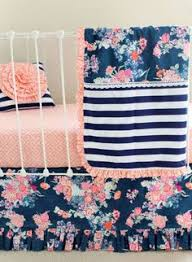 Pink Floral Crib Bedding Navy Floral Crib Bedding Baby Bedding Coral And Navy Baby