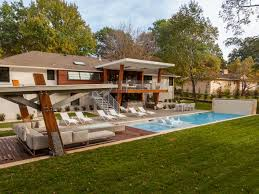backyard architecture midcentury modern backyard with covered lounge and pool 2017 hgtv