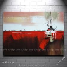 Painting Boat Interior Ship In Red Ocean Oil Painting Abstract Modern Boat Ship Home