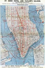 Manhattan Street Map Large Detailed St Denis Hotel And Taylor U0027s Saloon Road Map Of