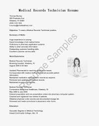 Medical Office Clerk Resume Medical Records Cover Letter Gallery Cover Letter Ideas
