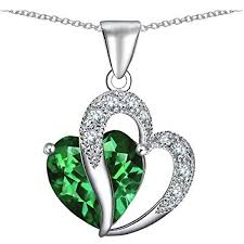 emerald heart pendant necklace images Star k large 1 2 inch double heart pendant in sterling silver with jpg