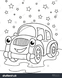 cartoon contour illustration smiling car coloring stock vector