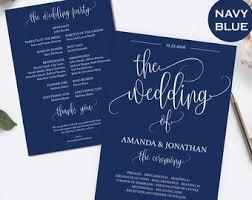 wedding program template navy blue and gold wedding