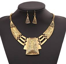 bib necklace designs images Antique silver statement geometric bib necklace earrings set jpg
