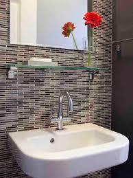 vase glass shelf tile backsplash bath design ideas mosaic tile