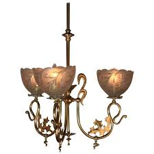 Gas Chandelier 19th Century Electrified Nouveau Gas Chandelier At 1stdibs