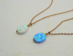 blue opal necklace rose gold wire wrapped opal necklace blue opal charm white