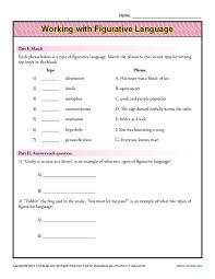 7th grade figurative language worksheets 7th grade printable