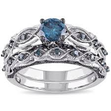 wedding ring set for him and miadora signature collection 10k white gold 1ct tdw blue diamond
