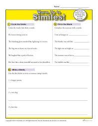 simile warm up activity figurative language worksheets