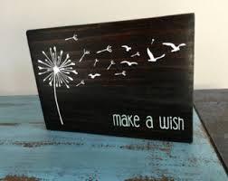 dandelion wood plaques wall dandelion sign etsy