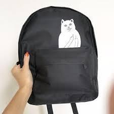 imagenes groseras de gatos unisex negro lord nermal blanco mochila dedo grosero gatito gato ebay
