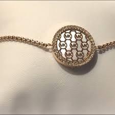 Gold Monogram Bracelet 47 Off Michael Kors Jewelry Michael Kors Monogram Slider Rose