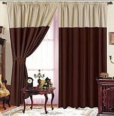 Two Tone Curtains Faux Silk Lined Curtains Pleated Top 90inx90in Beige Chocolate