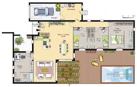plan maison en l plain pied 3 chambres plan maison moderne plain pied 3 chambres mc immo
