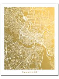 City Map Of Illinois by Richmond Map Map Of Richmond Virginia Gold Foil Map Gold