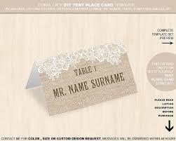 burlap flower lace tent place card name place card editable