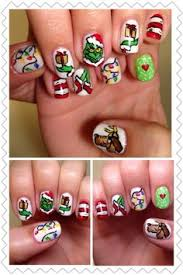 the grinch hand painted fake nails christmas nail art on false
