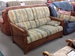 canape en bois canapé 2 places tissu et bois teinte merisier 362 à vendre à la
