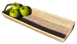 Rattan Bread Basket Fruit Entertaining Long Rectangle Tray Cane