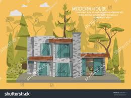 modern house forest flat design vector stock vector 353699717