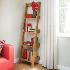 Natural Oak Leaning Shelves With Furniture Trestle Bookcase Leaning Bookcase Ladder Gray Leaning