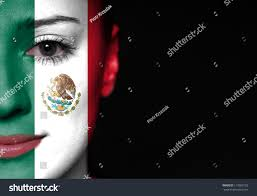 Colors Of The Mexican Flag Painted Woman Face Flag Mexico Stock Foto 119005102 Shutterstock