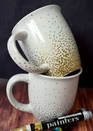 cute mugs diy metallic confetti paint mugs