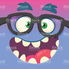 halloween eye glasses cartoon monster face wearing eyeglasses vector halloween funny