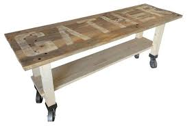 reclaimed wood kitchen island lettered gather modern dining