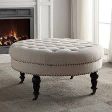 Ottoman For Sale Linon Isabelle Tufted Round Ottoman Hayneedle