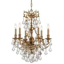 Aged Brass Chandelier Brass Candle Style Chandeliers Hanging Lights The Home Depot