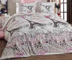 Beautiful Duvet Covers Fancy Full Queen Cotton Paris Eiffel Tower Bicycles Themed Duvet