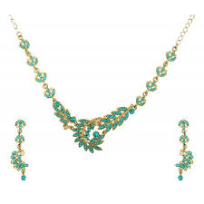 fashion necklace sets images Sea blue gold austrian crystal wedding necklace set with earrings jpg