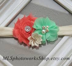 mint green headband coral mint ivory baby girl headband hair bow in coral pink and