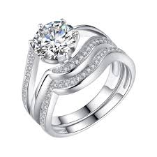 wedding ring sets for women solid sterling silver cubic zicronia 1 90 ct cut women s