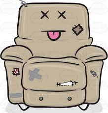 knocked out stuffed chair with torn patches and stitches emoji