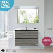 The Range Bathroom Furniture Bogetta 900mm Light Grey Oak Timber Wood Grain Wall Hung Or
