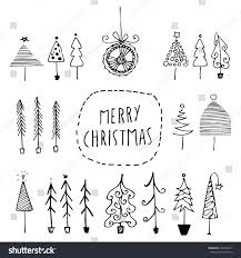 set vector hand sketches christmas trees stock vector 495943501