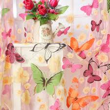 amazon com outtop butterfly print sheer window panel curtains