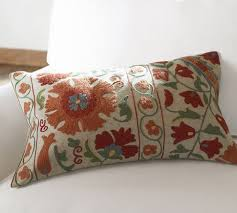 Pottery Barn Decorative Pillows Ariana Suzani Embroidered Lumbar Pillow Cover Pottery Barn
