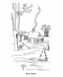 winter scene coloring pages scene chirstmas winter coloring