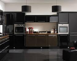 elegant high gloss black polished oak wood kitchen cabis with
