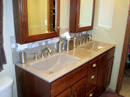 appealing corner bathroom vanity using creamy veined cultured