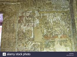 elaborate coloured painting on wall inside tomb chapel of meryre 1